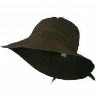 Women's Bucket Shaped Hat with Ribbon - Brown