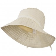 Women's Bucket Shaped Hat with Ribbon - Cream