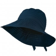 Women's Bucket Shaped Hat with Ribbon - Navy