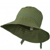 Women's Bucket Shaped Hat with Ribbon - Olive