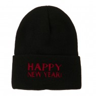 Happy New Year Embroidered Long Beanie - Black