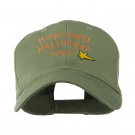 Happy Happy Halloween Night Star Embroidered Cap - Olive