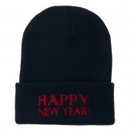 Happy New Year Embroidered Long Beanie - Navy