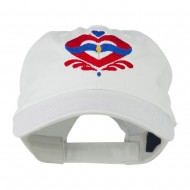 Heart Emblem Embroidered Cap - White