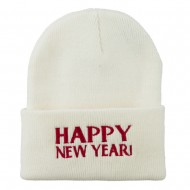 Happy New Year Embroidered Long Beanie - White