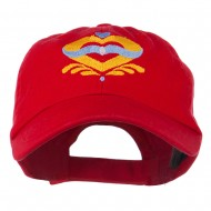Heart Emblem Embroidered Cap - Red