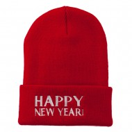 Happy New Year Embroidered Long Beanie - Red