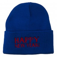Happy New Year Embroidered Long Beanie - Royal