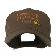 Happy Happy Halloween Night Star Embroidered Cap - Brown