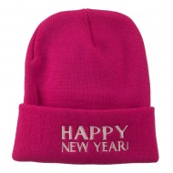 Happy New Year Embroidered Long Beanie - Hot Pink