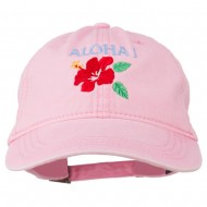 Hawaii Flower Aloha Embroidered Washed Cap - Pink