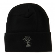 Halloween Spooky Tree Embroidered Long Beanie - Black