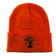 Halloween Spooky Tree Embroidered Long Beanie - Orange