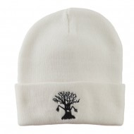 Halloween Spooky Tree Embroidered Long Beanie - White