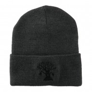 Halloween Spooky Tree Embroidered Long Beanie - Grey