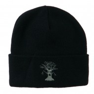 Halloween Spooky Tree Embroidered Long Beanie - Navy