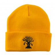 Halloween Spooky Tree Embroidered Long Beanie - Yellow