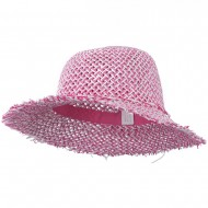 Girl's Toyo Hat with Criss Cross Open Weave Design - Pink White