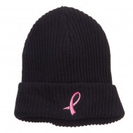 Breast Cancer Embroidered Big Size Waffle Beanie - Black