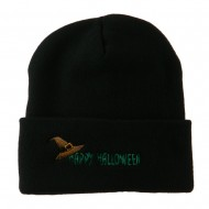 Happy Halloween Witch Hat Embroidered Long Beanie - Black