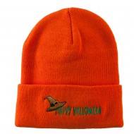 Happy Halloween Witch Hat Embroidered Long Beanie - Orange