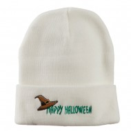 Happy Halloween Witch Hat Embroidered Long Beanie - White
