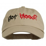 Halloween Got Blood Embroidered Low Profile Washed Cap - Khaki