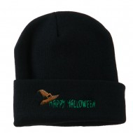 Happy Halloween Witch Hat Embroidered Long Beanie - Navy