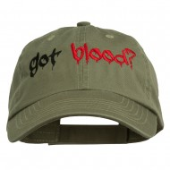 Halloween Got Blood Embroidered Low Profile Washed Cap - Olive