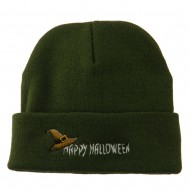 Happy Halloween Witch Hat Embroidered Long Beanie - Green
