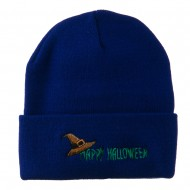 Happy Halloween Witch Hat Embroidered Long Beanie - Royal
