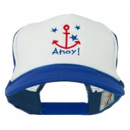 Anchor Stars Ahoy Embroidered Foam Mesh Back Cap - Royal White