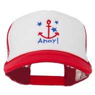Anchor Stars Ahoy Embroidered Foam Mesh Back Cap - Red White Red