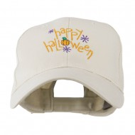 Happy Halloween with Pumpkin Embroidered Cap - Stone