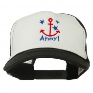 Anchor Stars Ahoy Embroidered Foam Mesh Back Cap - Black White