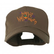 Happy Halloween with Pumpkin Embroidered Cap - Brown