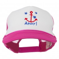 Anchor Stars Ahoy Embroidered Foam Mesh Back Cap - Hot Pink White