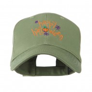 Happy Halloween with Pumpkin Embroidered Cap - Olive