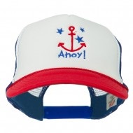 Anchor Stars Ahoy Embroidered Foam Mesh Back Cap - Red White Royal