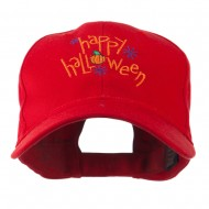 Happy Halloween with Pumpkin Embroidered Cap - Red