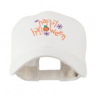 Happy Halloween with Pumpkin Embroidered Cap - White