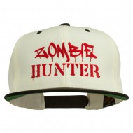 Halloween Zombie Hunter Embroidered Snapback Cap - Natural Black