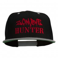 Halloween Zombie Hunter Embroidered Snapback Cap - Black Silver
