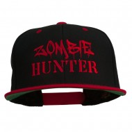 Halloween Zombie Hunter Embroidered Snapback Cap - Black Red
