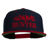Halloween Zombie Hunter Embroidered Snapback Cap - Navy Red