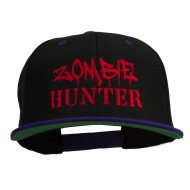 Halloween Zombie Hunter Embroidered Snapback Cap - Black Purple