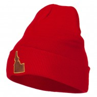 Idaho State Map Embroidered Long Beanie - Red