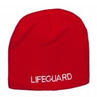 Lifeguard Embroidered Short Beanie - Red