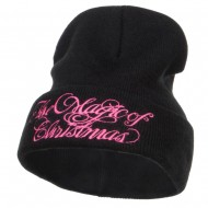 Magic of Christmas Embroidered Long Beanie - Black