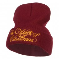 Magic of Christmas Embroidered Long Beanie - Maroon